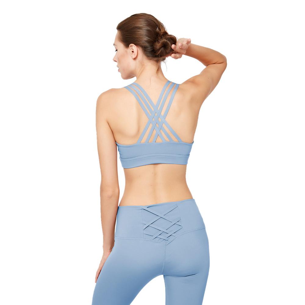 Custom Cross Back Sports Bra Patchwork Breathable Craft