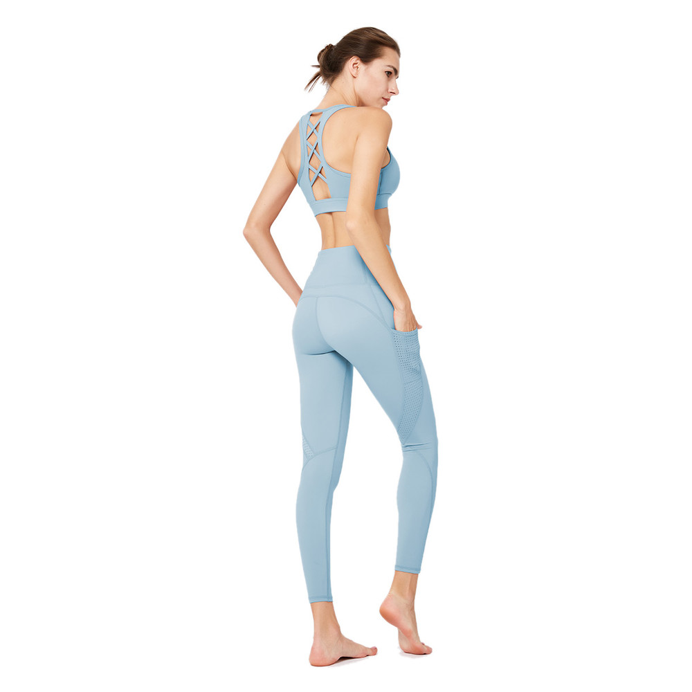 Womens Gym Wear Fitness Apparel Quick Dry Patchwork Sets