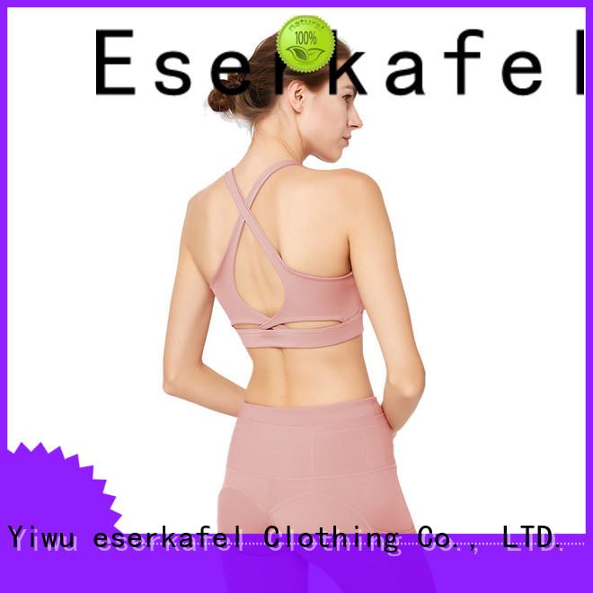 ESERKAFEL 100% quality strappy back sports bra trader for female