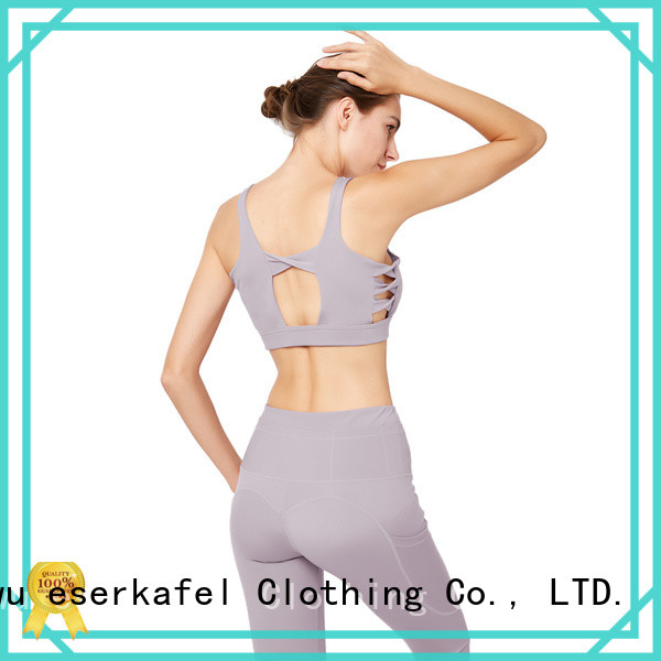 ESERKAFEL 100% quality strappy back sports bra manufacturer